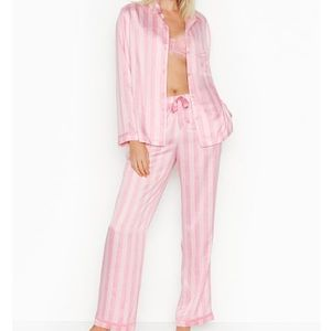 Victoria's Secret pink satin striped pajama set